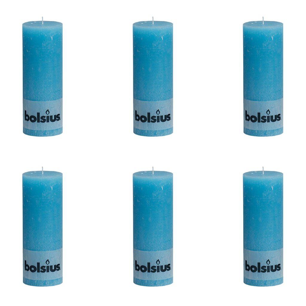 Bolsius Rustikálne valcové sviečky 6 ks 190x68 mm, modré
