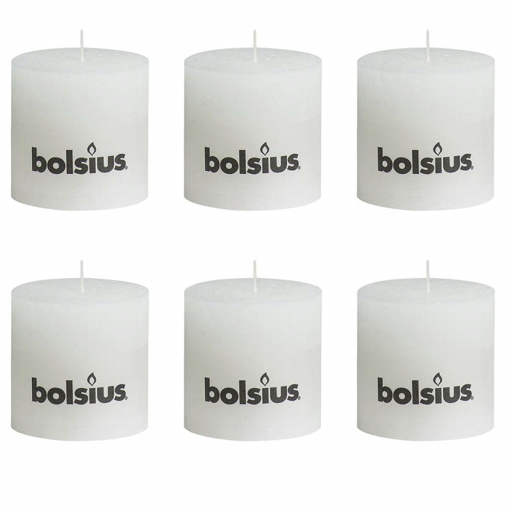 Bolsius Rustikálne valcové sviečky 6 ks 100x100 mm, biele