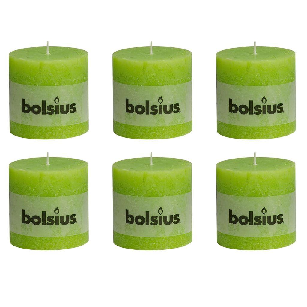 Bolsius Rustikálne valcové sviečky 6 ks 100x100 mm, limetkové