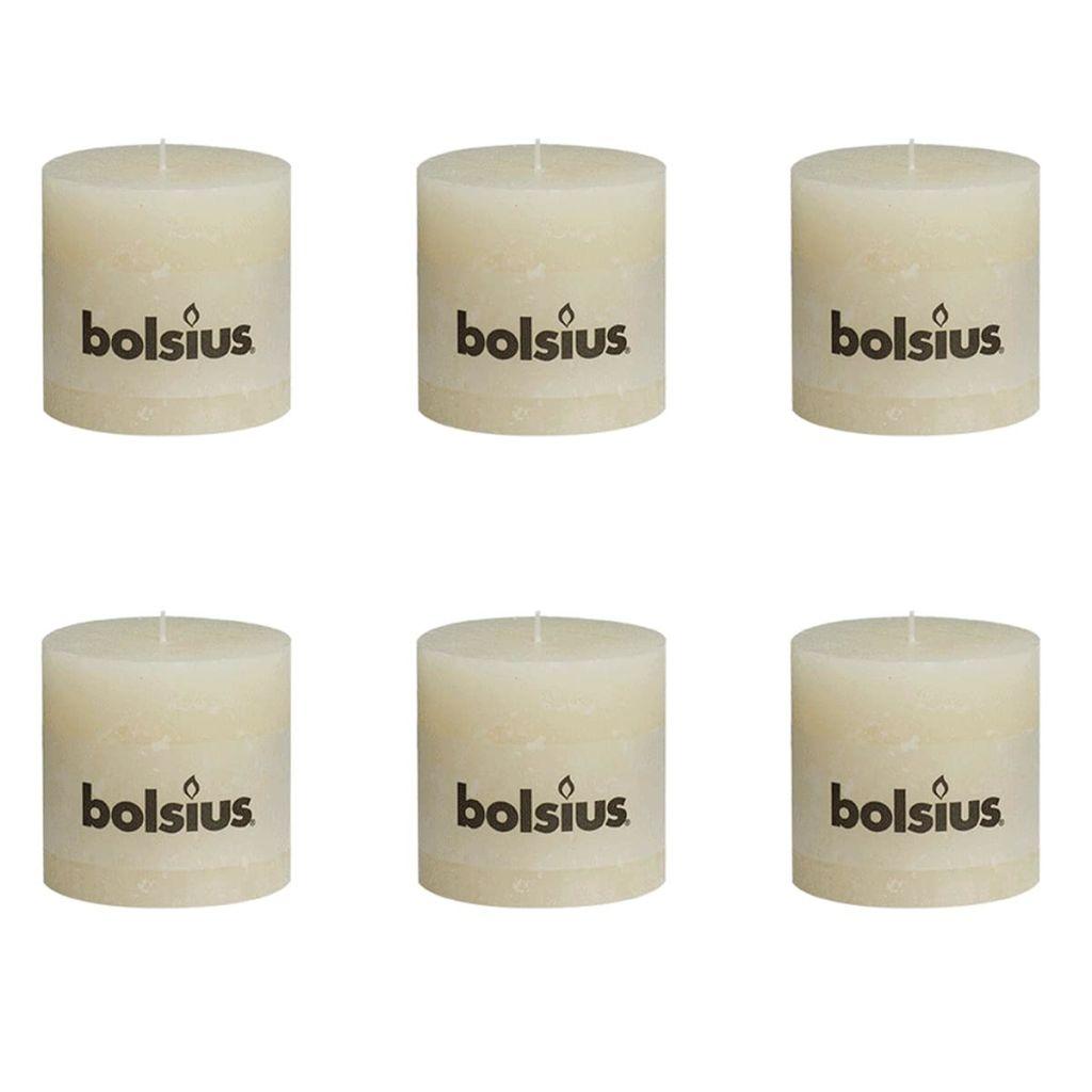 Bolsius Rustikálne valcové sviečky 6 ks 100x100 mm, slonovinové