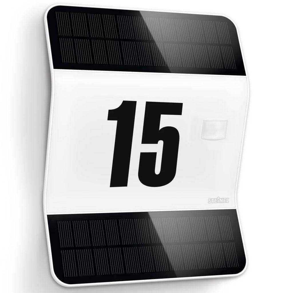 Biele vonkajšie solárne LED číslo domu so senzorom Steinel XSolar L2-S