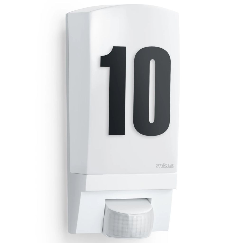 Biele vonkajšie osvetlené číslo domu s čidlom Steinel L1