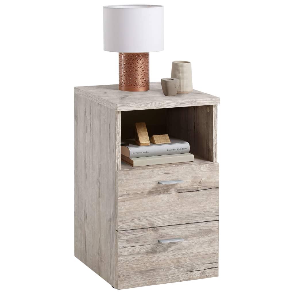 FMD Nočný stolík s 2 zásuvkami a otvorenou poličkou, pieskovo dubový