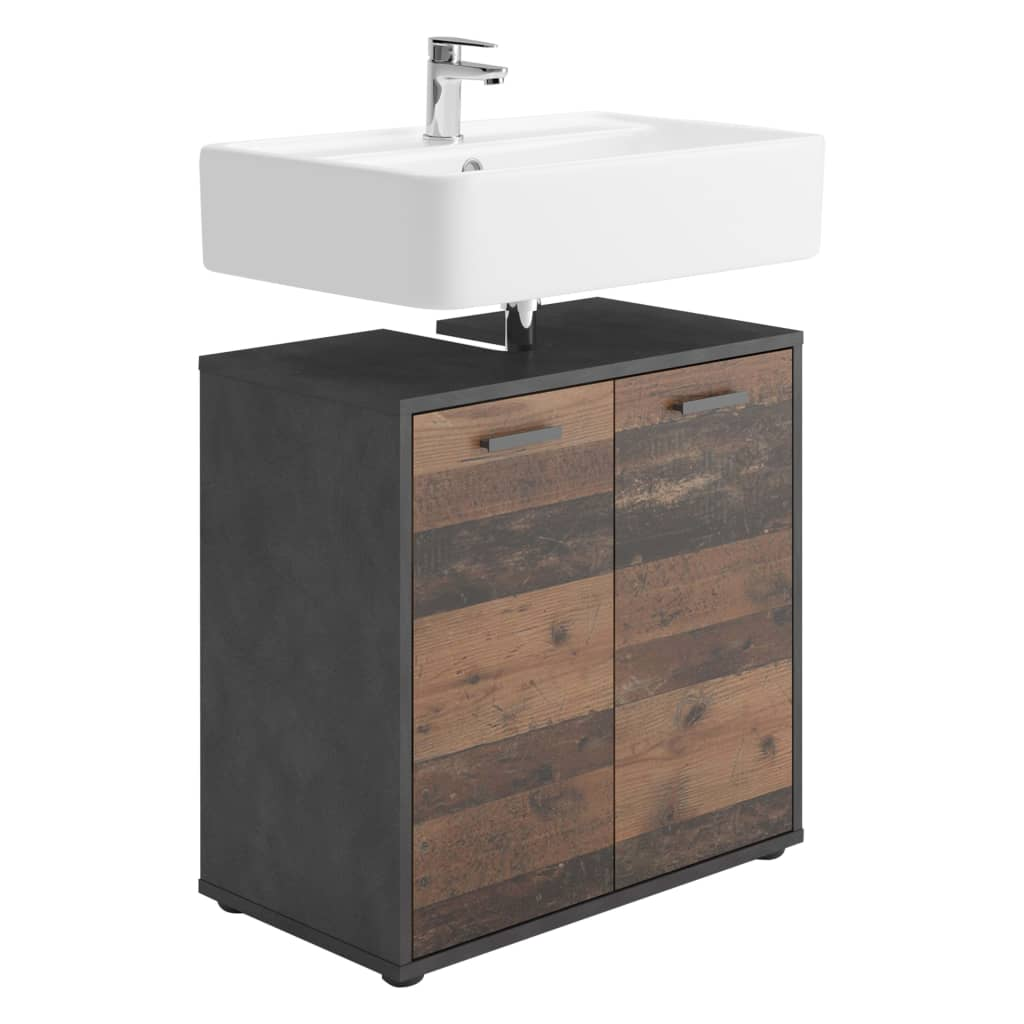 FMD Kúpeľňová umývadlová skrinka s 2 dvierkami starý štýl Matera tmavá