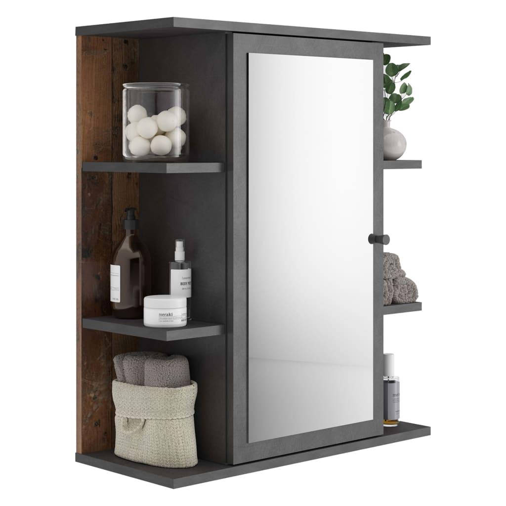 FMD Kúpeľňová skrinka so zrkadlom starý štýl Matera tmavá