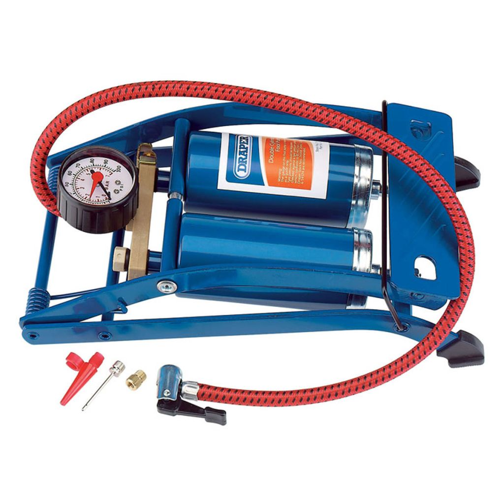 Draper Tools Nožná pumpa s dvomi valcami modrá 25996