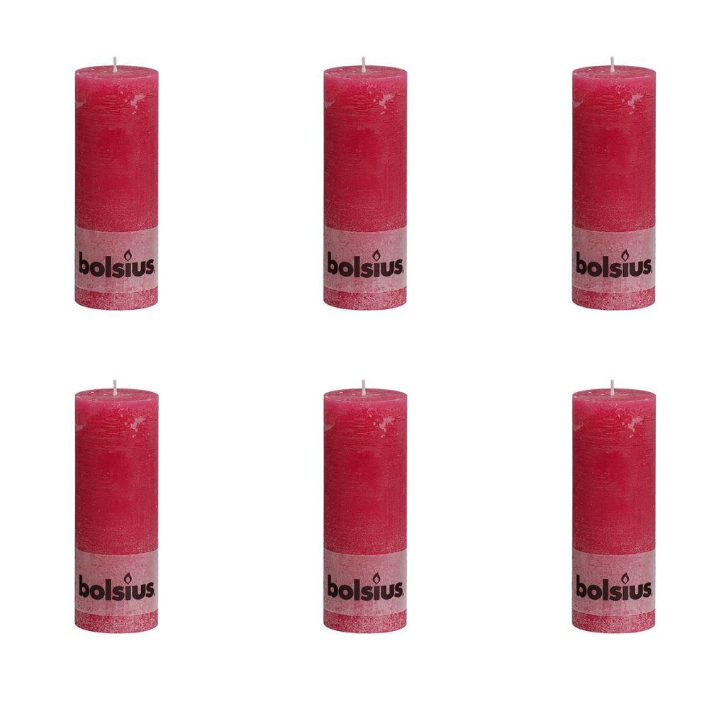 Bolsius Rustikálne valcové sviečky 6 ks 190x68 mm, fuchsiové