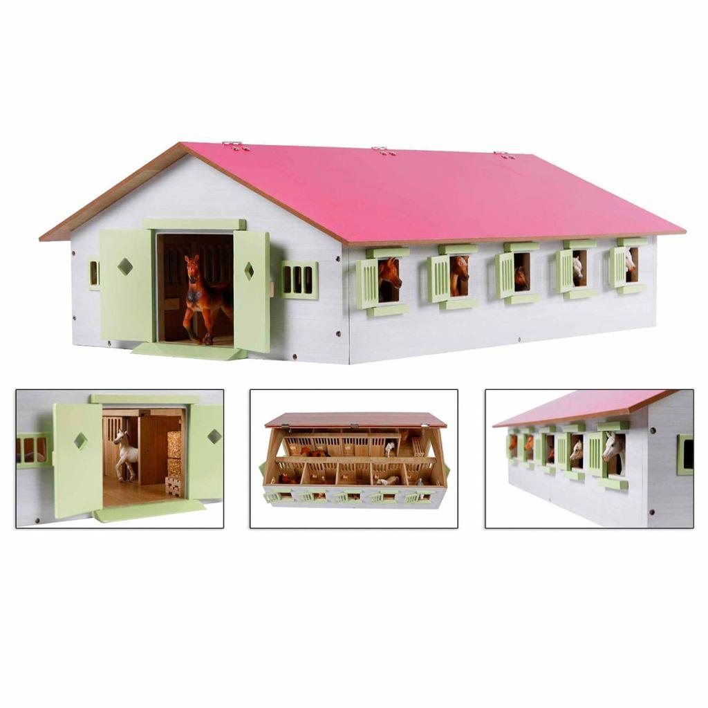 Kids Globe Konská stajňa s 9 boxami, 1:32, ružová, 610188