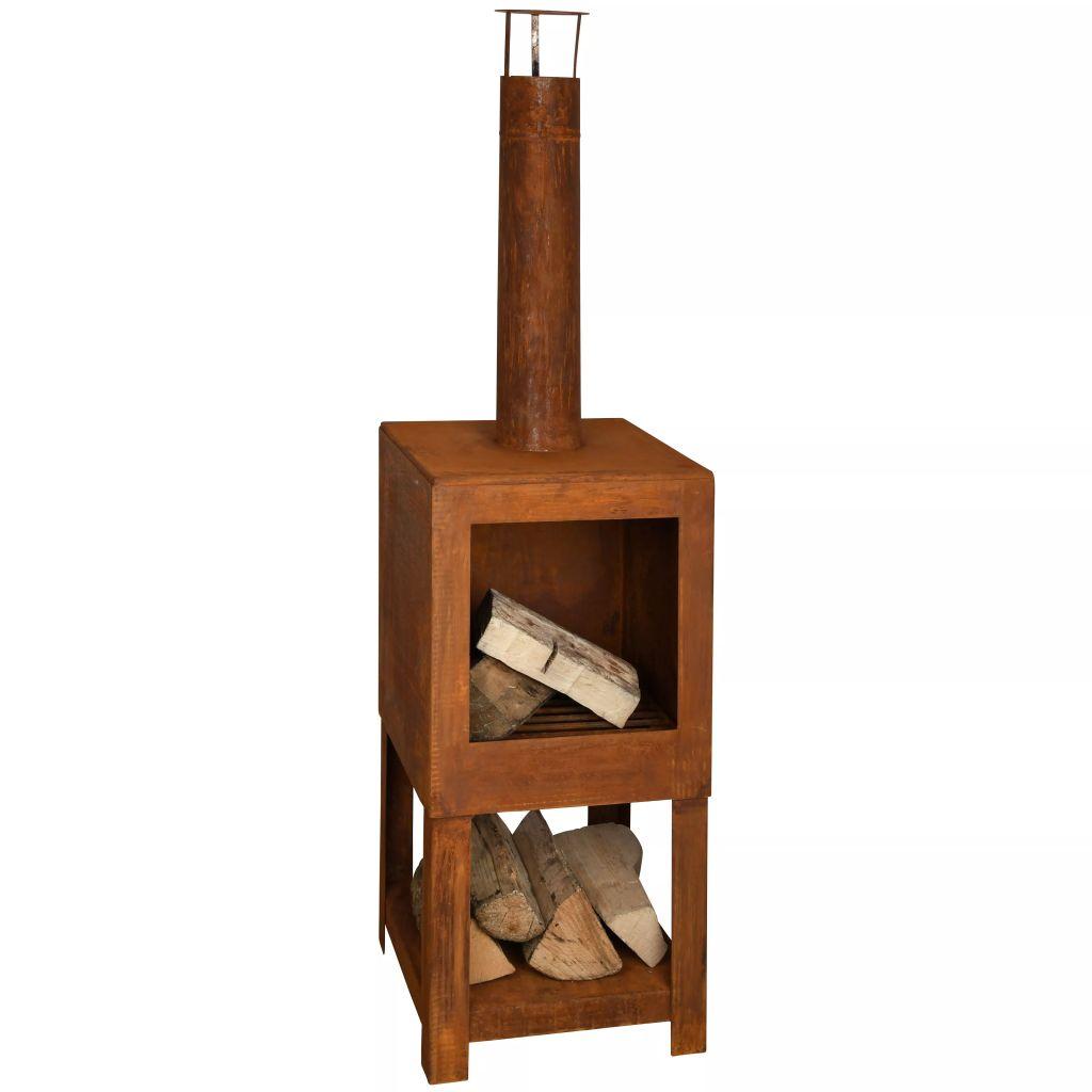 Esschert Design Vonkajší krb so stojanom na palivové drevo farba hrdze