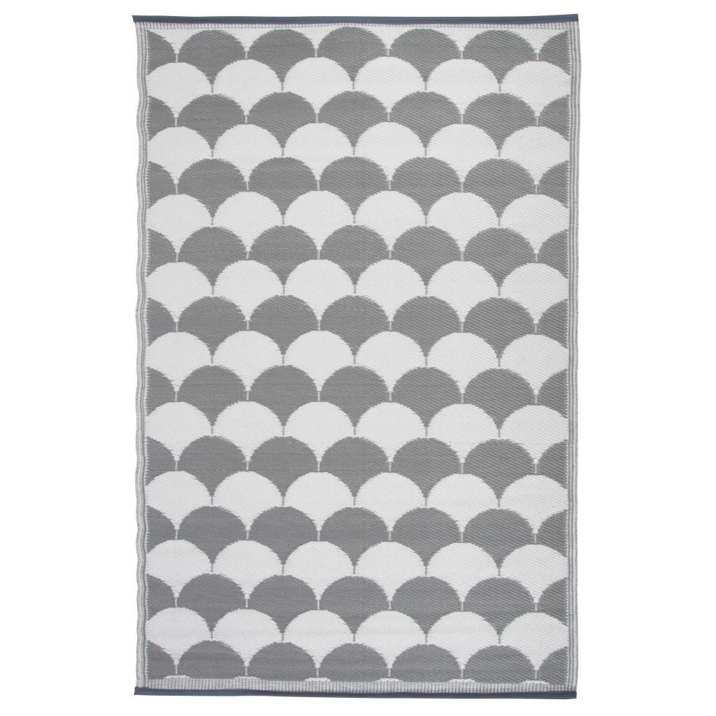Esschert Design Vonkajší koberec s potlačou 180x121 cm sivo-biely OC24