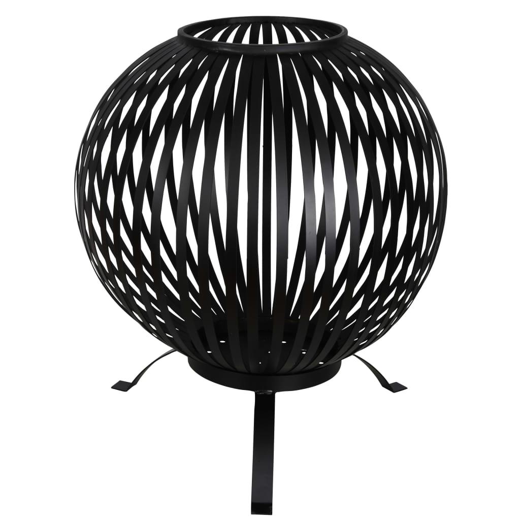 Esschert Design Kôš na oheň guľový čierny uhlíková oceľ