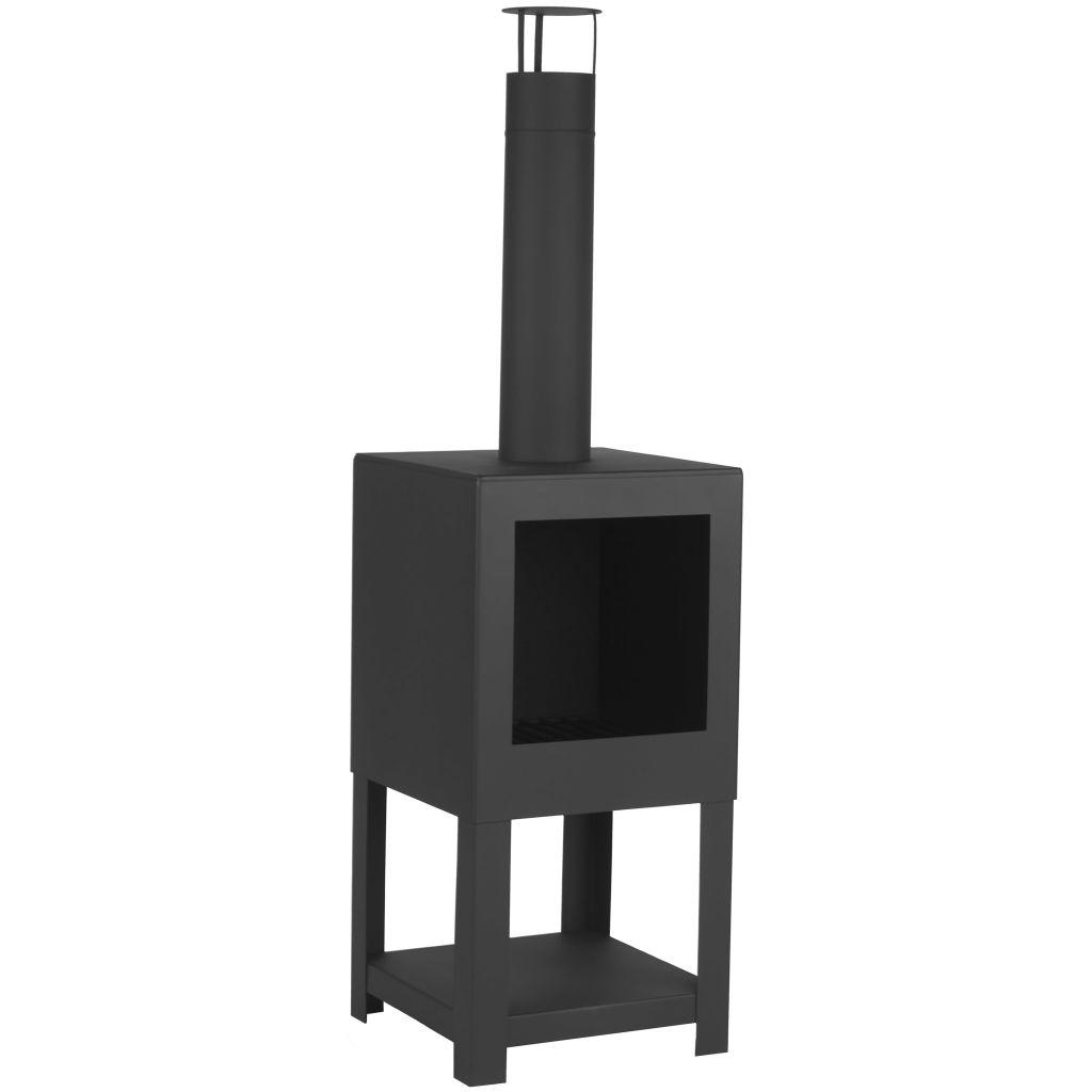 Esschert Design Vonkajší krb so stojanom na drevo, čierny FF410