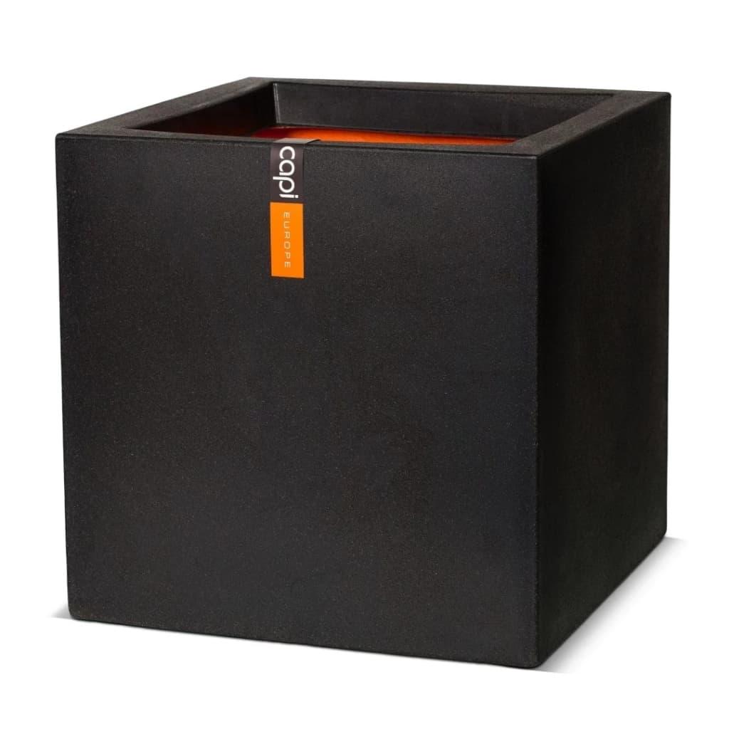 Capi Štvorcový kvetináč Urban Smooth 50x50x50 cm čierny KBL904