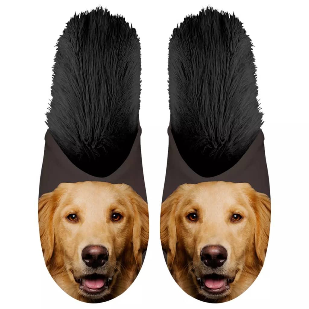 Plenty Gifts Plyšové zvieracie papuče zlatý retríver čierne 39-42 42549