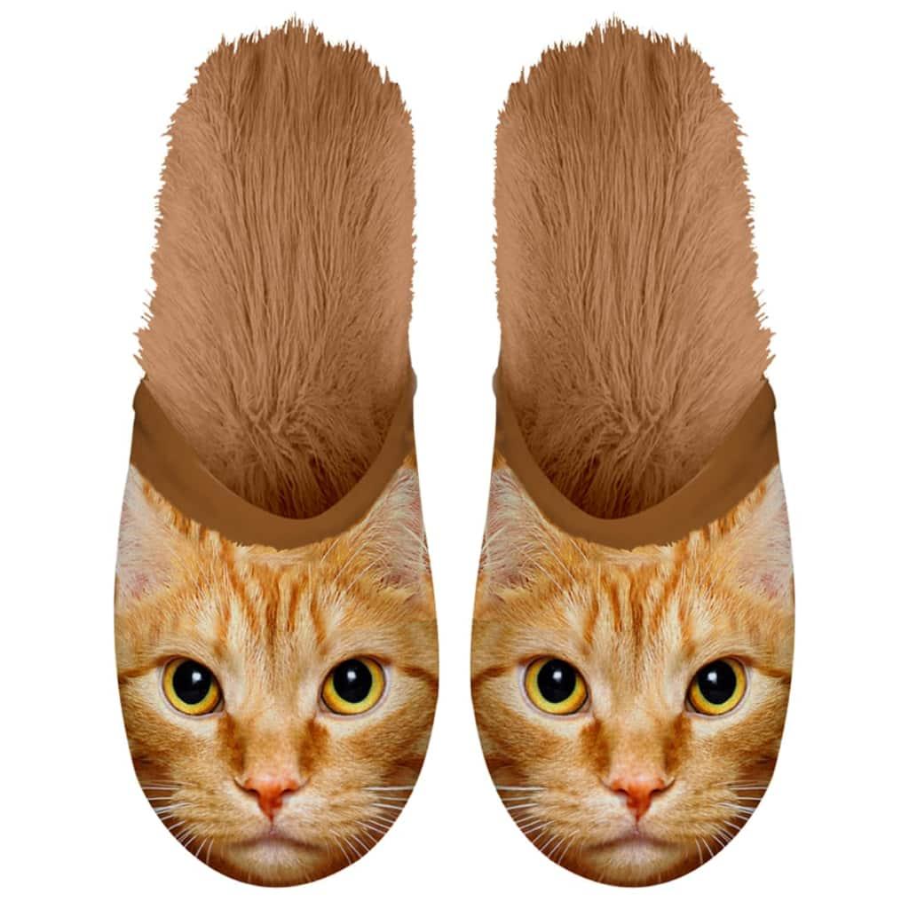 Plenty Gifts Plyšové zvieracie papuče mačka hnedé 35-38 42552