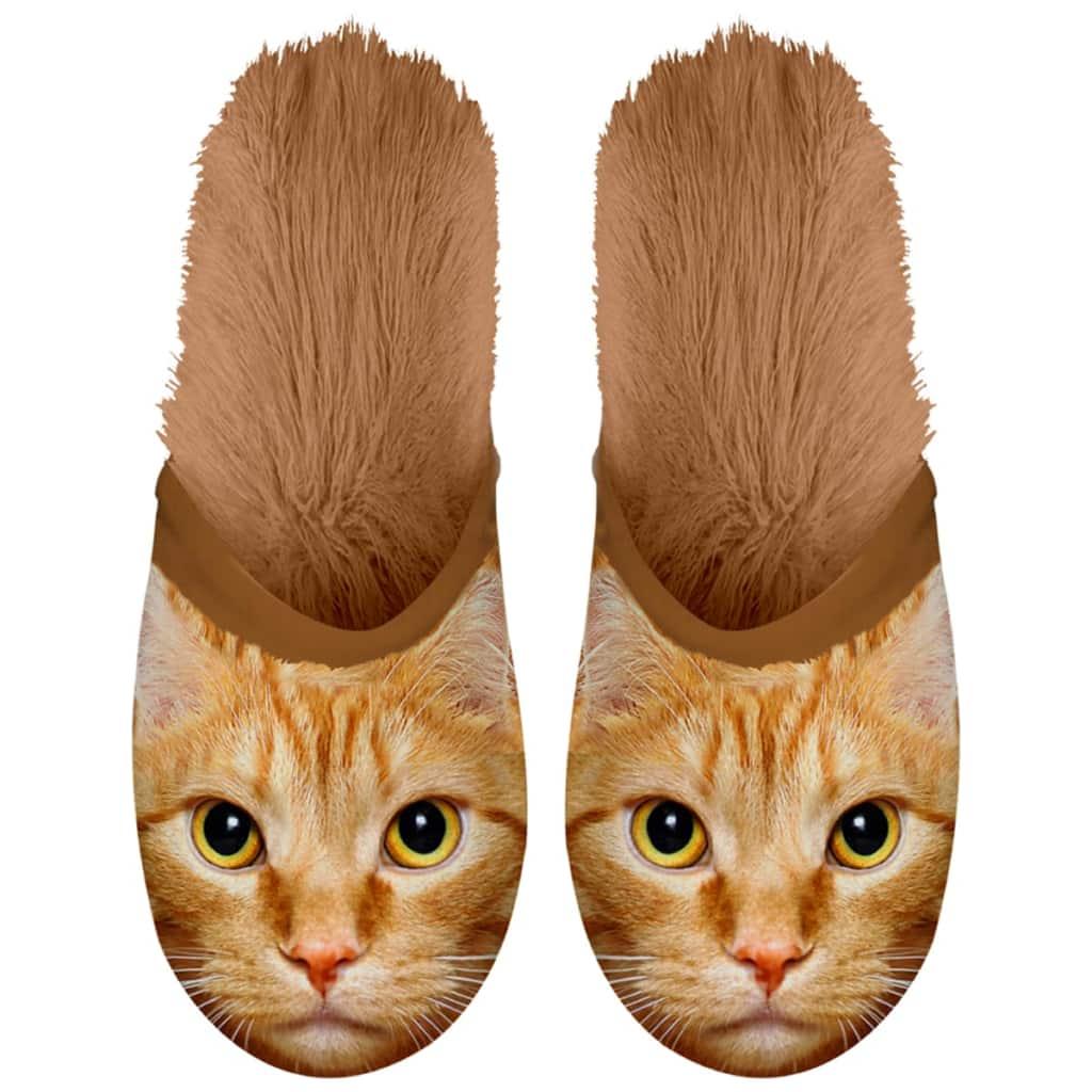 Plenty Gifts Plyšové zvieracie papuče mačka hnedé 39-42 42553