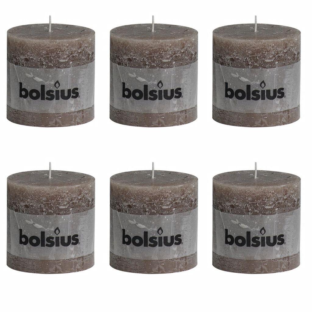 Bolsius Rustikálne valcové sviečky 6 ks 100x100 mm, sivohnedé