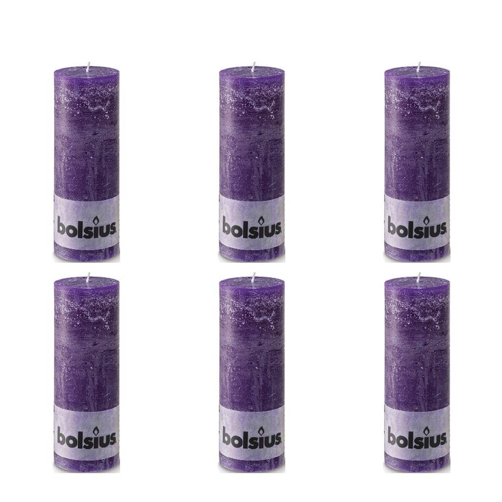 Bolsius Rustikálne valcové sviečky 6 ks 190x68 mm, purpurové