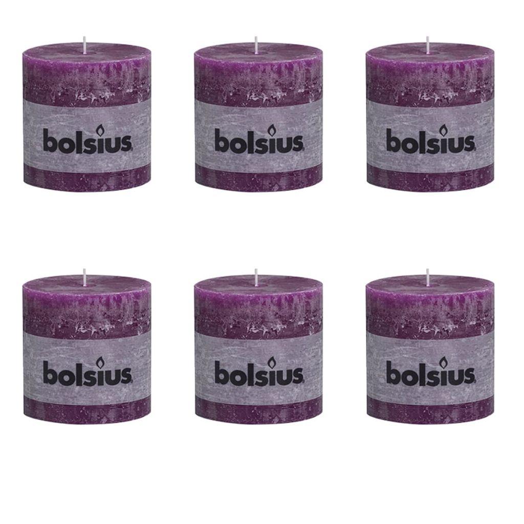Bolsius Rustikálne valcové sviečky 6 ks 100x100 mm, purpurové