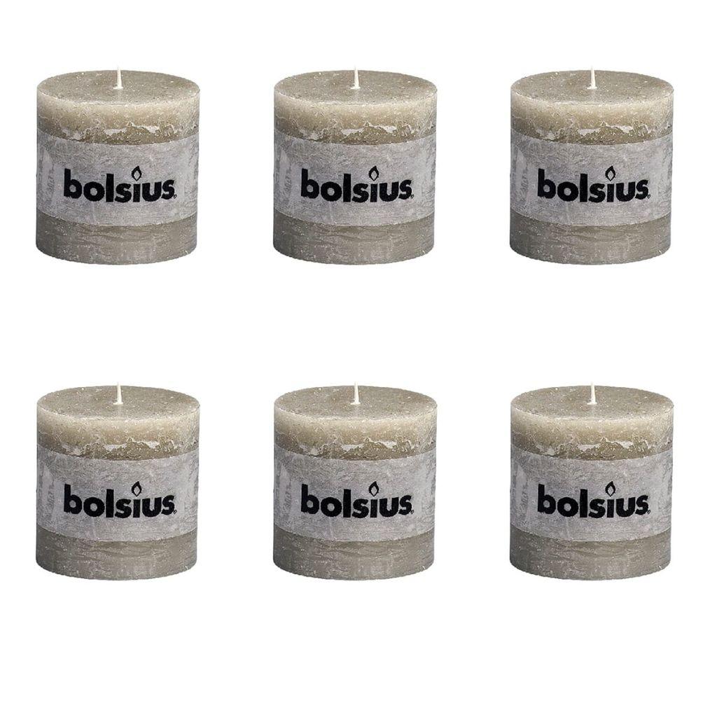 Bolsius Rustikálne valcové sviečky 6 ks 100x100 mm, kamienkovo sivé