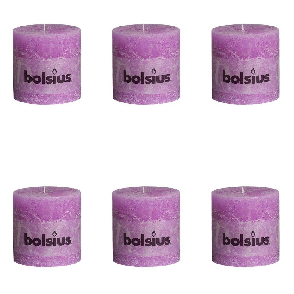 Bolsius Rustikálne valcové sviečky 6 ks 100x100 mm, fialové