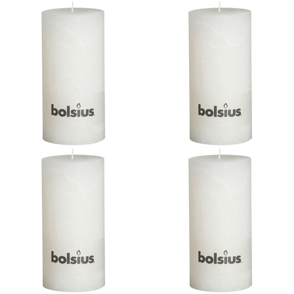 Bolsius Rustikálne valcové sviečky 4 ks 200x100 mm, biele