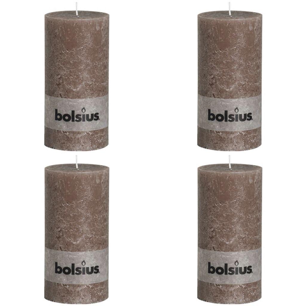 Bolsius Rustikálne valcové sviečky 4 ks 200x100 mm, sivohnedé