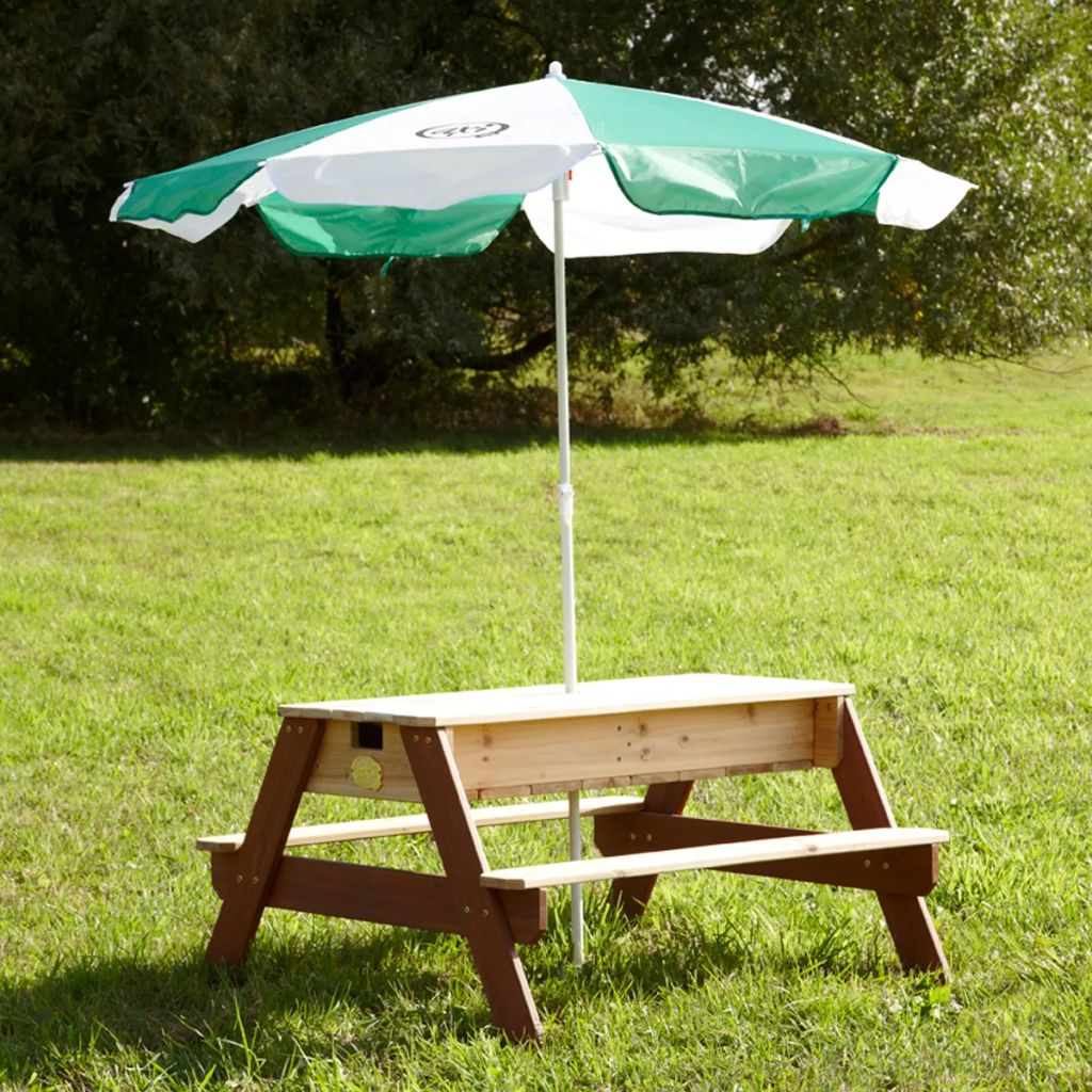 Piknikový stôl so slnečníkom AXI s priehradkami na vodu/piesok