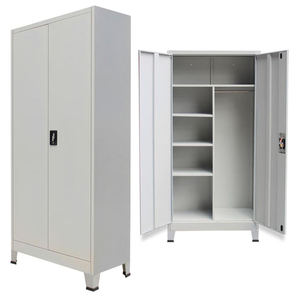 vidaXL Oceľová šatňová skrinka s 2 dverami, 90x40x180 cm, šedá