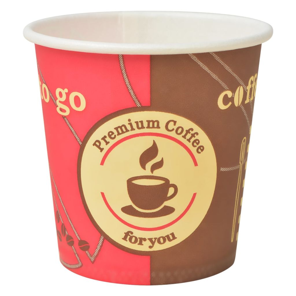 vidaXL Jednorazové poháre na kávu, 1000 ks, papierové, 120ml/4 oz