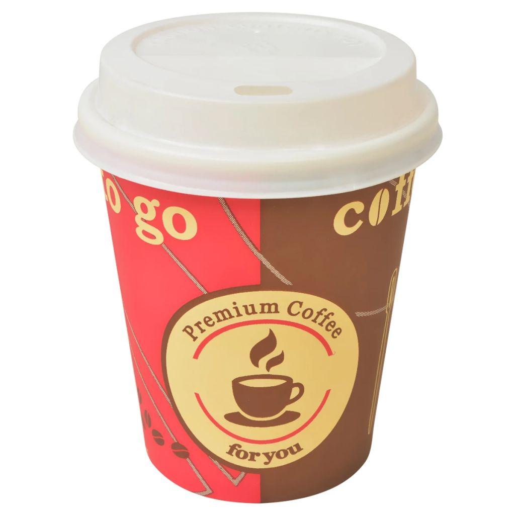 vidaXL Jednorazové poháre na kávu s poklopmi, 1000 ks, 290ml/8 oz
