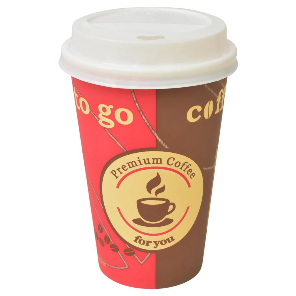 vidaXL Jednorazové poháre na kávu, 1000 ks, papierové, 350ml