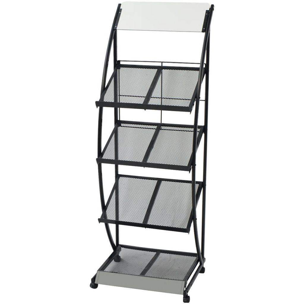 vidaXL Stojan na časopisy, 47x40x134 cm, A4, čierna a biela