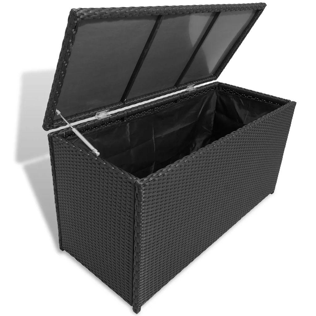 vidaXL Záhradná skladovacia truhlica, polyratan, čierna