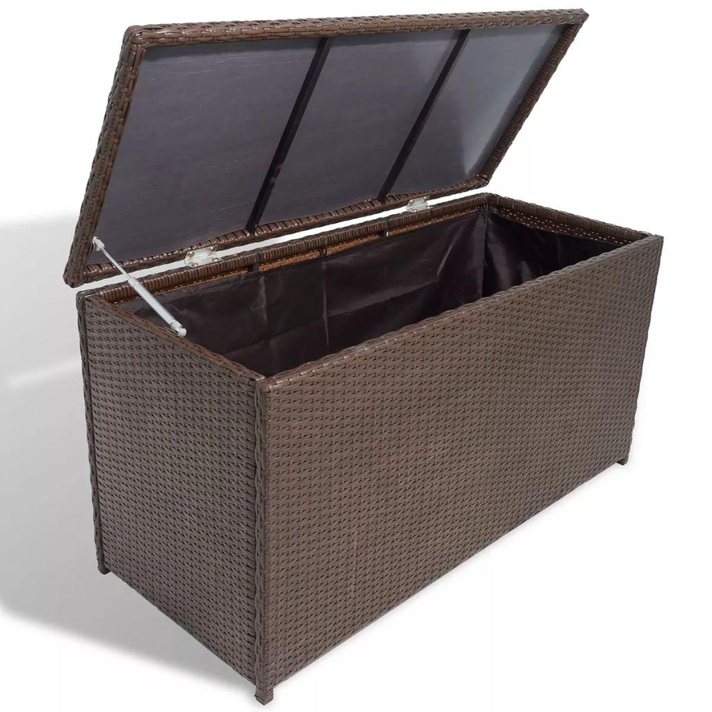 vidaXL Záhradná skladovacia truhlica, polyratan, hnedá