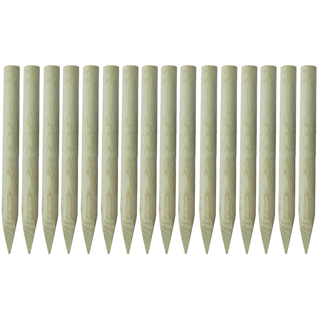 vidaXL Špicaté plotové stĺpiky, 16 ks, impregnované drevo, 5x100 cm
