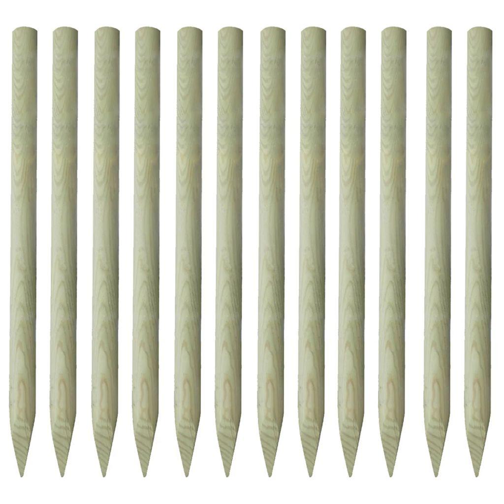 vidaXL Špicaté plotové stĺpiky, 12 ks, impregnované drevo, 5x150 cm