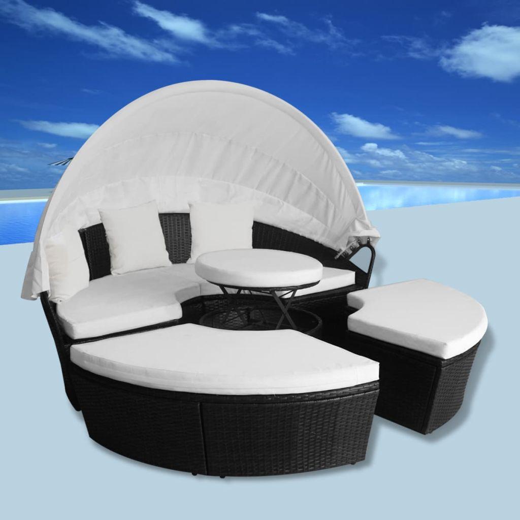 vidaXL Okrúhla záhradná posteľ, 11-dielna sada z polyratanu, čierna