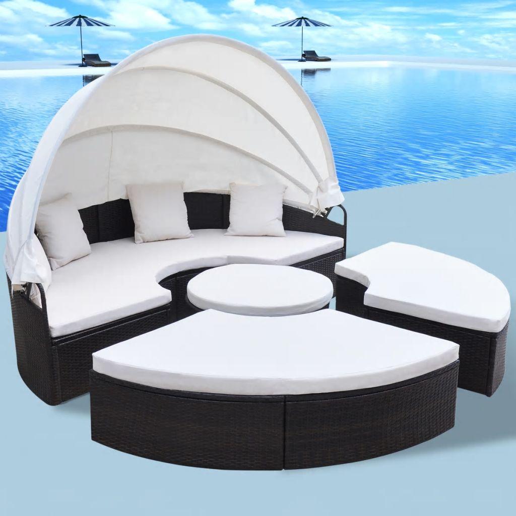 vidaXL Okrúhla záhradná posteľ, 13-dielna sada z polyratanu, 230 cm, hnedá