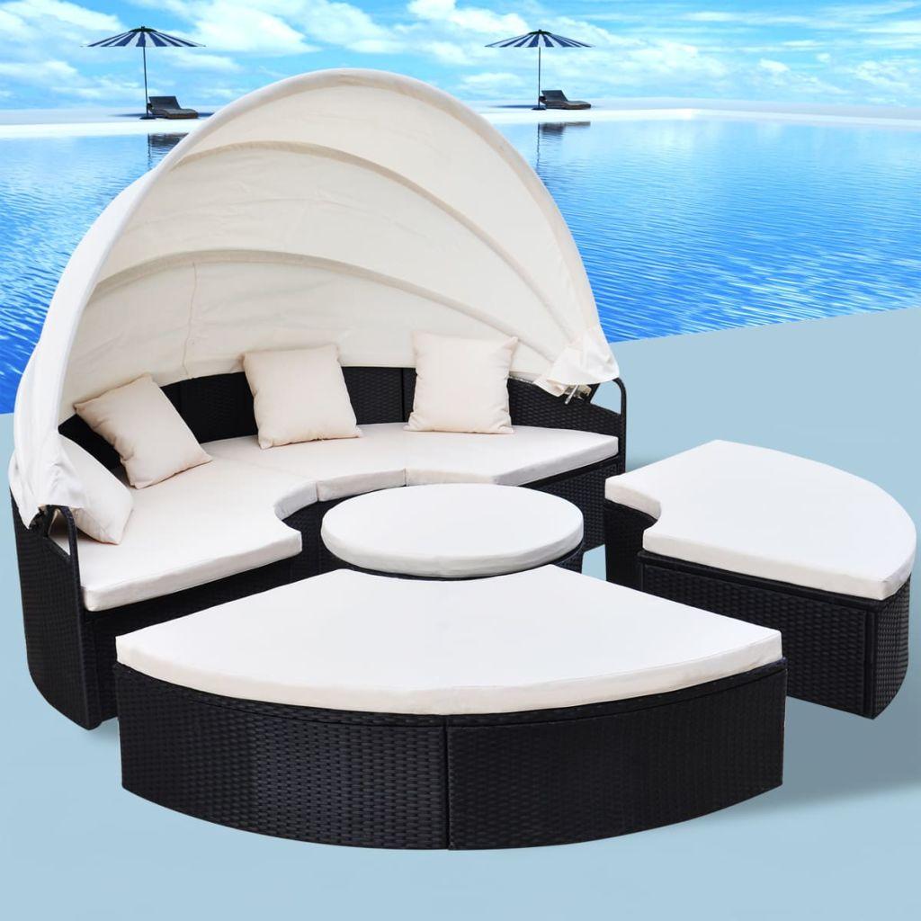 vidaXL Okrúhla záhradná posteľ, 13-dielna sada z polyratanu, 230 cm, čierna