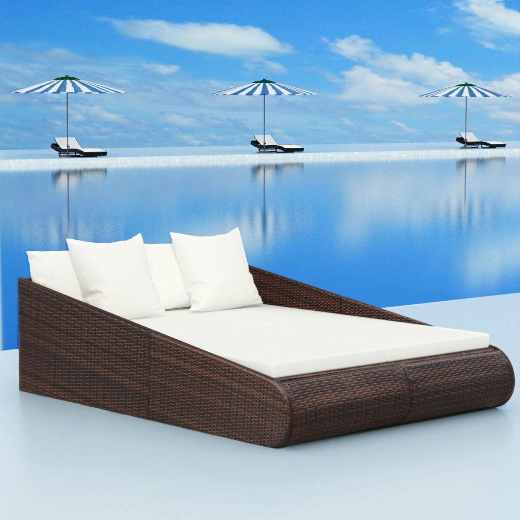 vidaXL Záhradná polyratanová posteľ, 201x139x58 cm, hnedá