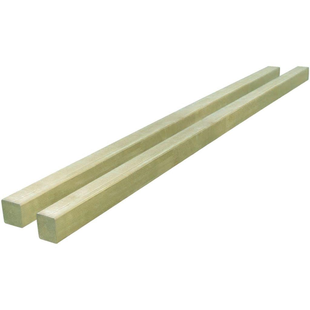 vidaXL Plotové stĺpiky, 2 ks, impregnované borovicové drevo, 7x7 cm 2 m