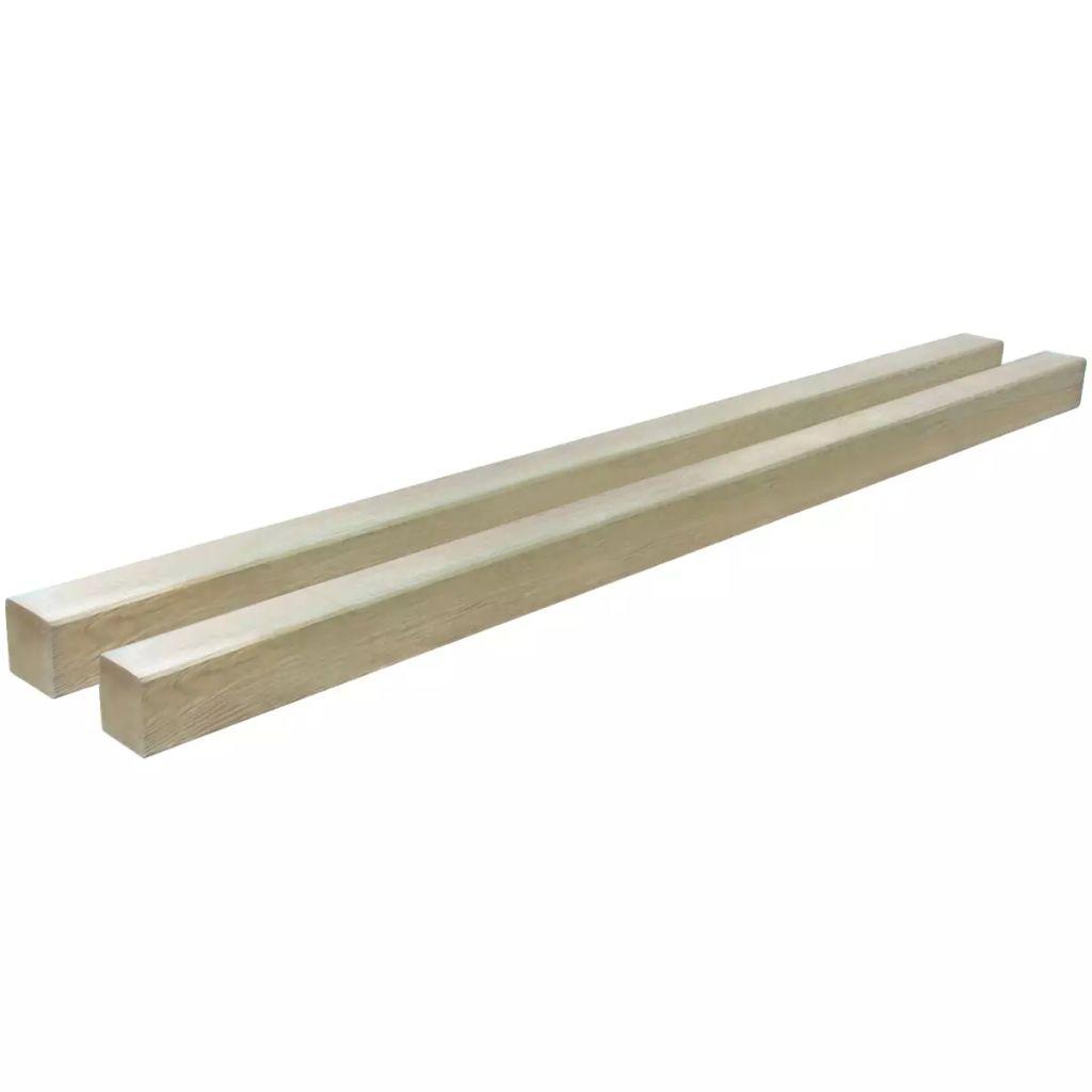 vidaXL Plotové stĺpiky, 2 ks, Impregnované borovicové drevo, 9x9 cm 2 m