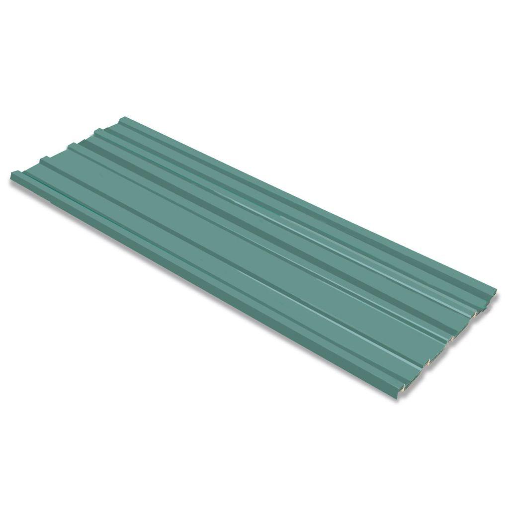 vidaXL Strešný panel, 12 ks, galvanizovaná oceľ, zelený