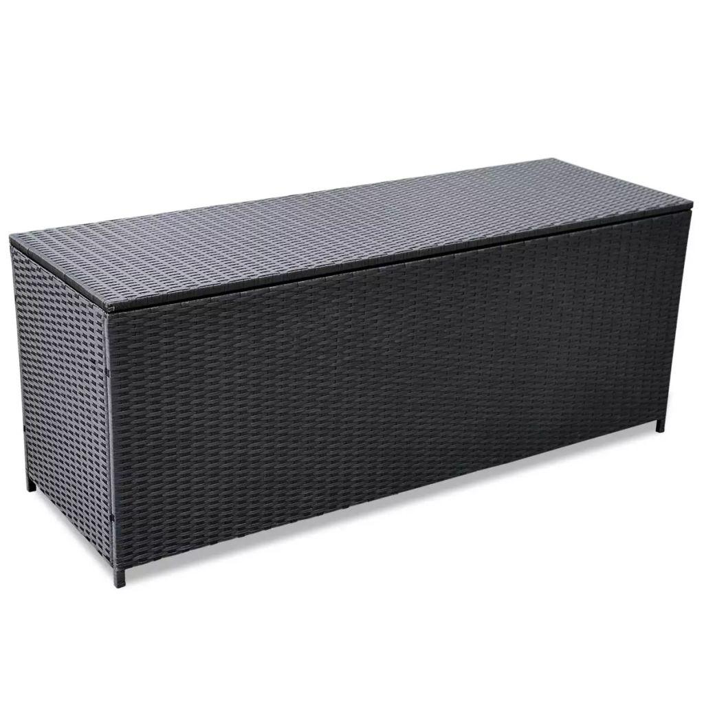 vidaXL Vonkajší polyratanový úložný box, čierny, 150x50x60 cm