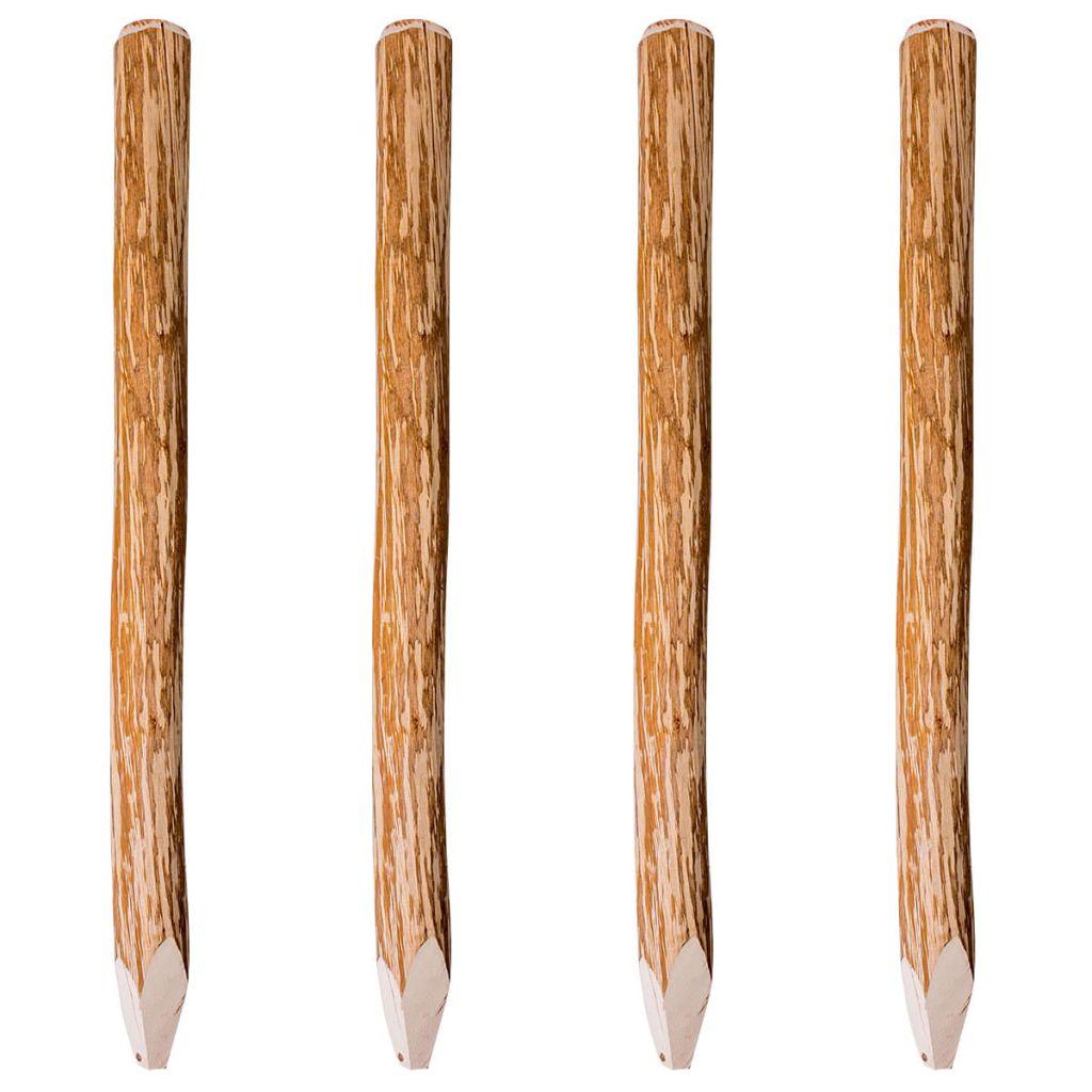 vidaXL Drevené stĺpiky na plot, 4 ks, lieskovec, 120 cm