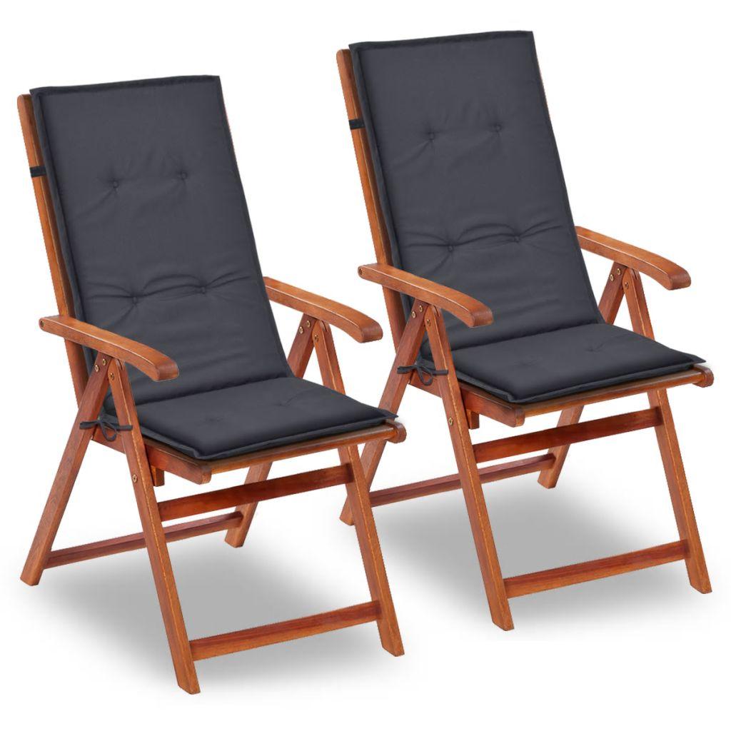 vidaXL Antracitová sedáky na záhradné stoličky, 2 ks, 120x50x3 cm