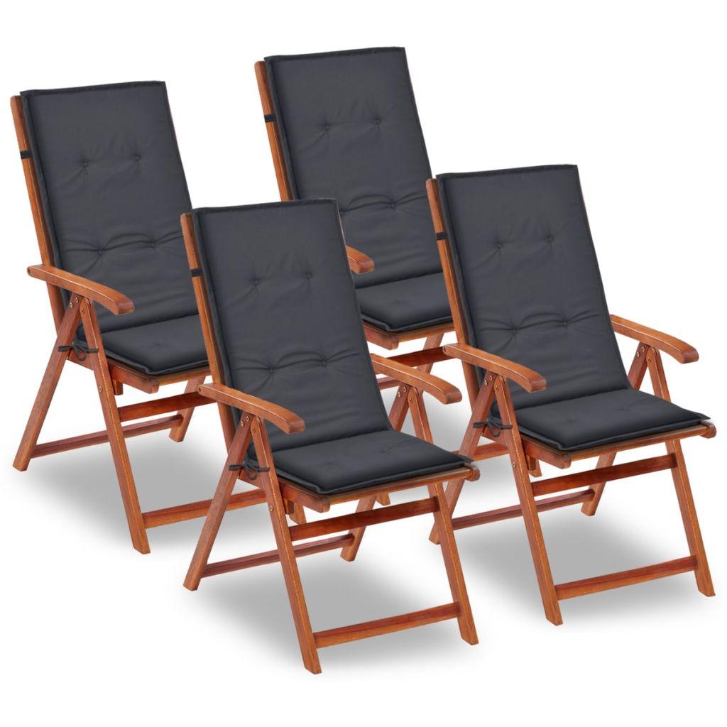 vidaXL Antracitové sedáky na záhradné stoličky, 4 ks, 120x50x3 cm