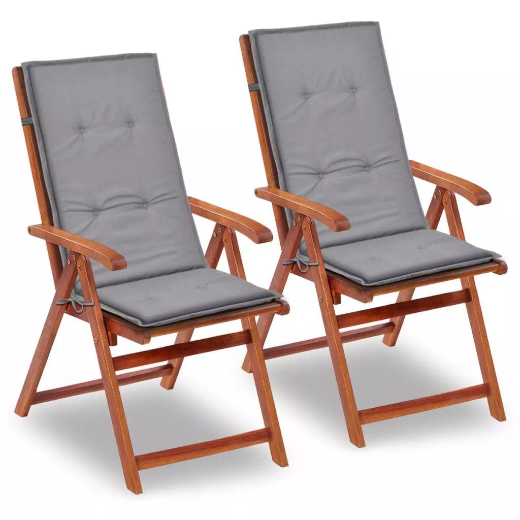 vidaXL Šedé sedáky na záhradné stoličky, 2 ks, 120x50x3 cm
