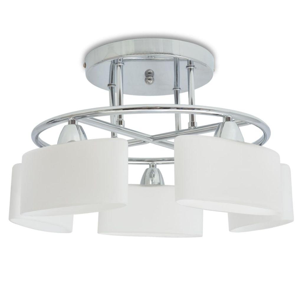 vidaXL Stropná lampa s elipsovými tienidlami na 5 žiaroviek E14, 200 W